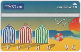 PORTUGAL A-833 Hologram Telecom - Cartoon, Leisure, Holiday, Beach - 605F - Used