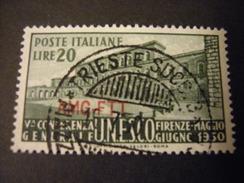 TRIESTE - AMGFTT. 1950, UNESCO, L. 20 Verde Oliva, Usato Perfetto - Gebraucht