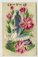 FLOWER, FLEUR, BIRD, OISEAU - Embossed Postcard, Gaufree   ( 2 Scans ) - Fiori