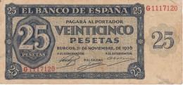 BILLETE DE BURGOS DE 25 PTAS DEL 21/11/1936 SERIE G  CALIDAD  BC+ (BANKNOTE) - [ 3] 1936-1975 : Regime Di Franco