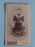 ENFANT - KIND - CHILD Met Hoepel ( CDV Photo BECKER Anvers ) Anno 19?? - Voir Photo Pour Details !! - Anonymous Persons