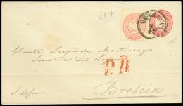 Busta Postale da 5 sd. rosso (Interit. 10) senza filigrana diretta a Brescia con affrancatura complementare di un...