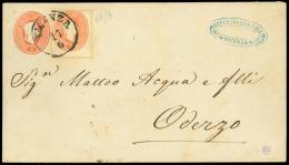VICENZA C1, su busta postale da 5 sd. (Interit. 10) diretta ad Oderzo col complemento di un 5 sd. (33). Bolli di...
