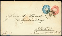 VERONA C1 su busta postale da 5 sd. (Interit. 10) diretta a Berlino col complemento di un valore da 10 sd. azzurro...