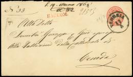 VENEZIA C1 su busta postale da 5 sd.( Interit. 10) con RACCOM. (rosso) diretta a Ceneda. Al retro complemento...