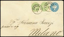 VENEZIA C1 su busta postale da 10 sd. (Interit. 11) diretta a Milano col complemento di coppia 3 sd. verde (42)....