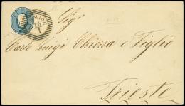 SERMIDE (LOV) su busta postale da 15 sd. (Interit. 4) diretta a Trieste. Bollo di arrivo e cert. Chiavarello,...