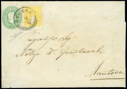 REVERE (CO) su gran parte di busta postale da 3 sd. verde (Interit. 1) diretta a Mantova col complemento di un 2...