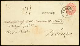 PADOVA C1, busta postale da 5 sd. rosso (Interit. 10) diretta a Vicenza col lineare RACCOM. Bollo di arrivo. /...