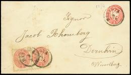 MANTOVA C1 su busta postale da 5 sd. rosso (Interit. 10) diretta all'estero col complemento di due valori da 5 sd....