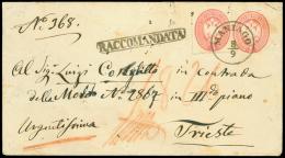 MANIAGO C1 su busta postale da 5 sd.(Interit. 10) RACCOMANDATA diretta a Trieste col complemento di francobollo da...
