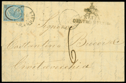 NETTA DENTRO E FUORI bollo figurato su lettera spedita da Livorno a Civitavecchia in data 24.8.1865 affrancata con...