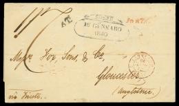 Due lettere del 1840 spedite da ZANTE (Isole Jonie) via Trieste per l'Inghilterra (11 gennaio e 11 aprile) in porto...