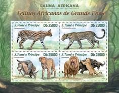 SAO TOME E PRINCIPE 2013 SHEET AFRICAN WILD CATS RAUBKATZEN FELINS FELINES FELINOS FELINI WILDLIFE St13201a - Sao Tome Et Principe