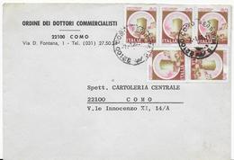 STORIA POSTALE REPUBBLICA - BUSTA INTESTATA DA COMO 1982 AFFRANCATA CON 5 VALORI LIRE 60 CASTELLI - 6. 1946-.. Repubblica