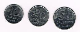 )  BRAZILIE  10 - 20 - 50 CRUZEIROS  1983 - Brésil