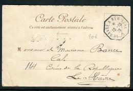 """France - Oblitération Ligne Maritime """" Le Havre A New York D """" En 1909 Sur Carte Postale Pour Le Havre -  Ref A85 - Storia Postale"""