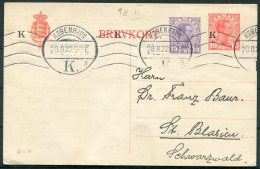 1922 Denmark 10+15 Ore Stationery Postcard, Danske Meteorologiske Institut, Copenhagen. Brevkort 57 - H - Covers & Documents