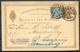1884 Denmark Uprated 6 Ore Stationery Postcard Jul. Gjellerup, Copenhagen - Leipzig / Braunschweig - 1864-04 (Christian IX)