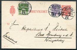 1926 Denmark Uprated 5/15 Ore + 7/10 Ore Stationery Postcard 61 - C Brevkort Aalborg - Bad Homburg, Germany - Covers & Documents
