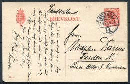 1926 Denmark 20 Ore Stationery Postcard 82 - 0 Brevkort Aalborg - Dresden, Germany - Covers & Documents