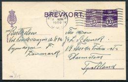 1939 Denmark Uprated 10 Ore Violet Stationery Postcard, Brevkort 133 Copenhagen - Darmstadt,Germany - Covers & Documents