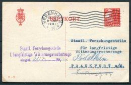 1931 Denmark 15 Ore Stationery Postcard Staatl. Forschungsstelle, Meteorologisk Institut Copenhagen - FrankfurtGermany - Covers & Documents