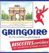 Buvard Biscottes Enrichies Gringoire Série Monument Et Lieux Parisiens L'Arc De Triomphe Du Carroussel - Biscottes