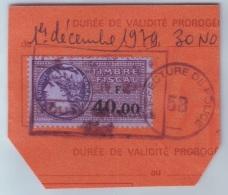 French Revenue Stamps 40 Fr Pref De Police 5B - Marcophilie (Lettres)