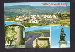 CPSM 07 - VILLENEUVE DE BERG - TB CP Multivue Dont TB Vue Générale Nouveau Quartier + Statue - France