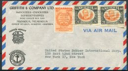 1956 Nicaragua 2 X Griffith & Co. Lloyds Of London Insurance Rotary International Airmail Covers - USA - Nicaragua