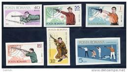 ROMANIA 1965 Shooting Championships Imperforate Set  MNH / **.  Michel 2413-18 - 1948-.... Republics
