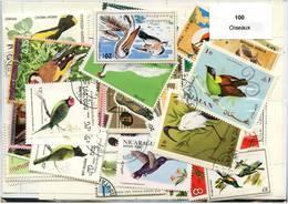 Lot 100 Timbres Thème Oiseaux - Timbres