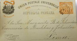 O) 1898 PERU, UPU -2 CENTAVOS FUERTES DE SOL IN 5 CENTAVOS ORANGE, POST AND TELEGRAPH,POSTAL STATIONERY INTERNAL SERVICE - Peru