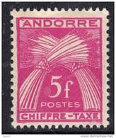 Andorre Taxe  N° 29 XX Type Gerbes Légende Chiffre-Taxe : 5 F. Rose-lilas Sans Charnière TB