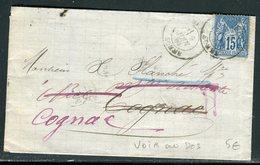 France - Lettre Avec Texte De Amiens Pour Cognac En 1880 , Redirigé Plusieurs Fois , Voir Cachets Au Verso - Ref A114 - Marcophilie (Lettres)
