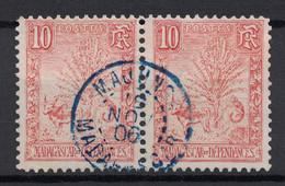 """BELLE OBLITÉRATION CAD BLEU """" MAJUNGA / MADAGASCAR """" 1906 SUR TB PAIRE TIMBRE N° 67 (TYPE ZEBU ARBRE VOYAGEUR) - Madagascar (1889-1960)"""