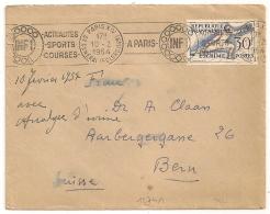 YT N° 962 30C ESCRIME SEUL Sur Enveloppe Pour BERN Suisse. PARIS XIV. Mécanique. 1954 - Marcophilie (Lettres)