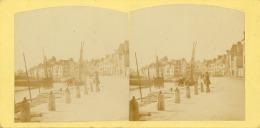 STEREO, France, Le Croisic, Vue Sur Le Port  Vintage Albumin Card   Tirage Albuminé   8,5x17   Circa 1870 - Photos