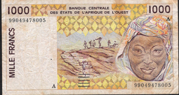 W.A.S. IVORY COST P111Af 1000 FRANCS (19)99  FINE Folds NO P.h. ! - Côte D'Ivoire