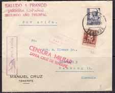 España 1937. Canarias. Carta De Tenerife A Hamburgo. Censura. - Marcas De Censura Nacional