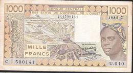 W.A.S. LETTER C BURKINA FASO 1000 FRANCS 1985  VF NO P.h. ! - Burkina Faso