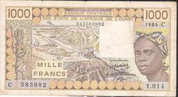 W.A.S. LETTER C BURKINA FASO 1000 FRANCS 1986  F-VF 4 P.h. ! - Burkina Faso