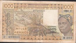 W.A.S. LETTER C BURKINA FASO P307Cd1000 FRANCS 1984  FINE - Burkina Faso