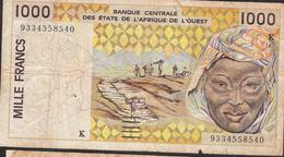 W.A.S. LETTER K SENEGAL P711Kc1000 FRANCS (19)93  FINE - Senegal
