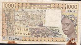 W.A.S. LETTER K SENEGAL P707Kg 1000 FRANCS 1986  FINE Only 1 P.h. ! - Sénégal