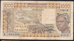 W.A.S. LETTER K SENEGAL P707Kg 1000 FRANCS 1986  AVF NO P.h. ! - Sénégal