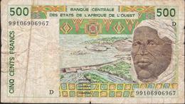 W.A.S. LETTER D MALI   IVORY COST   P410Dj 500 FRANCS (19)99  FINE Folds - Mali