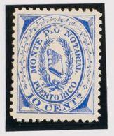 Puerto Rico MH *. 1882. DERECHO NOTARIAL De 1882. 10 Ctvos Ultramar. MONTEPIO NOTARIAL. MAGNIFICO Y RARISIMO. (Fulcher 3 - Puerto Rico