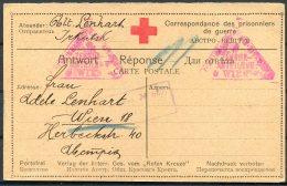1918 WW1 Russia POW Kriegsgefangenen Guerre Censor Stationery Postcard Austria Wien, Red Cross